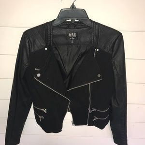 Black faux leather and denim jacket